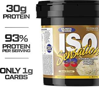 Ultimate Nutrition Iso Sensation 93 Fat Free Whey Protein Isolate Powder with Glutamine – 30 Grams of Pure Protein, Low Carb, Keto Friendly, Banana Ice Cream, 5 Pounds