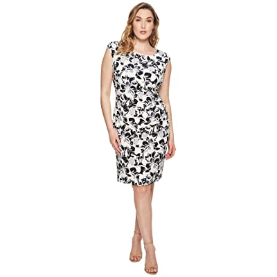 LAUREN Ralph Lauren Plus Size Koriza Montero Floral Matte Jersey Dress (Lighthouse Navy/Grey/Multi) Women