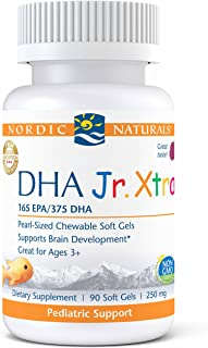 Nordic Naturals Pro DHA Jr. Xtra - Fish Oil, 165 mg EPA, 375 mg DHA, Support for Healthy Neurological, Nervous System, Eye, and Immune System Development*, Berry Punch Flavor, 90 Soft Gels