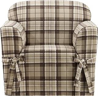 Sure Fit Highland Plaid 1-Piece  - Chair Slipcover  - Tan (SF46425)