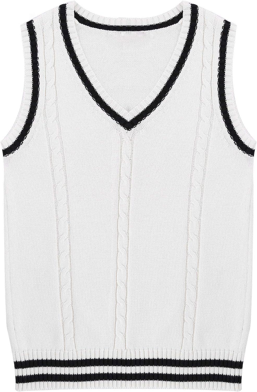 easyforever Women Girls School Uniform Knitted Vest Waistcoat Sleeveless V Neck Pullover Sweater Vest