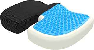 bonmedico Large Orthopedic Seat Cushion, Gel and Memory Foam Seat Pillow to Relieve Back, Sciatica and Coccyx/Tailbone, Great As Office Chair Cushion, Car Seat Cushion Or for Wheelchair, Black