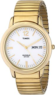 Timex Men's T21942 Chambers Street Gold-Tone Stainless Steel Expansion Band Watch