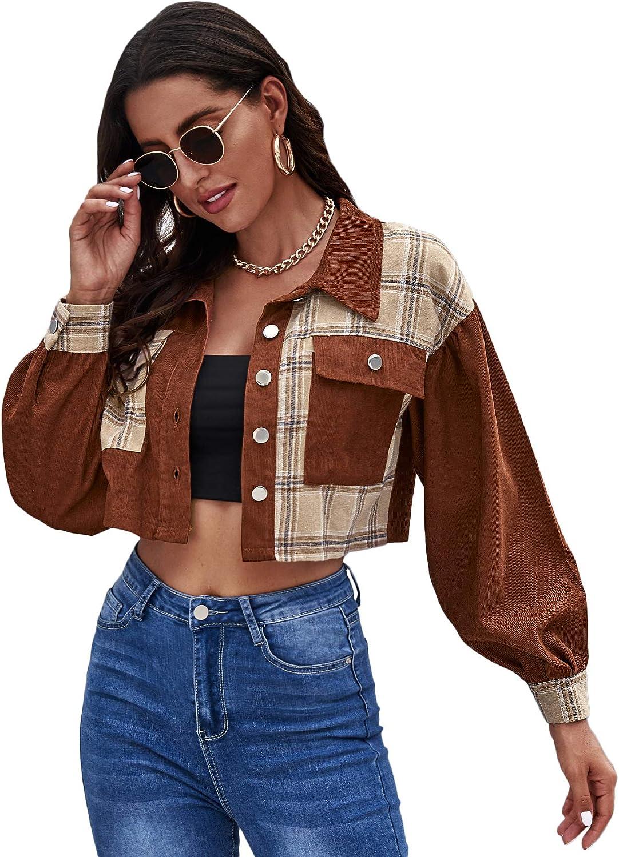 SheIn Women's Plaid Long Sleeve Crop Corduroy Jacket Button Front Coat Outerwear