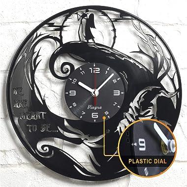 Vinyra Vinyl Wall Clock compatible with Jack Skellington and Sally Nightmare Before Christmas Disney Cartoon themed room - Vi