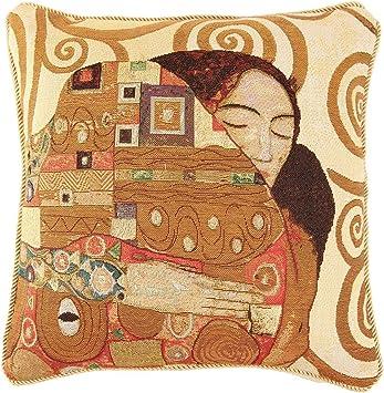 Gustav Klimt-Tree of Life Jacquard Weave Tapestry Pillow Cushion Cover 45cmx45cm