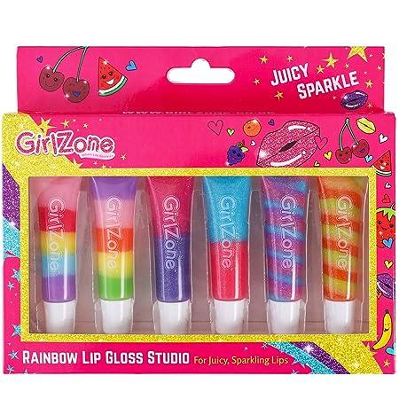Girlzone Cadeau Fille - Gloss Fille - Maquillage Enfant - 6 Tubes Baume à Lèvres Saveur aux Fruits - Rouge à Lèvre Enfant - Brillant à Lèvres - Anniversaire Fille 3 à 12 Ans