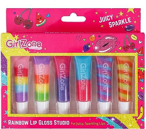 Girlzone Cadeau Fille - Gloss Fille - Maquillage Enfant - 6 Tubes Baume à Lèvres Saveur aux Fruits - Rouge à Lèvre En...