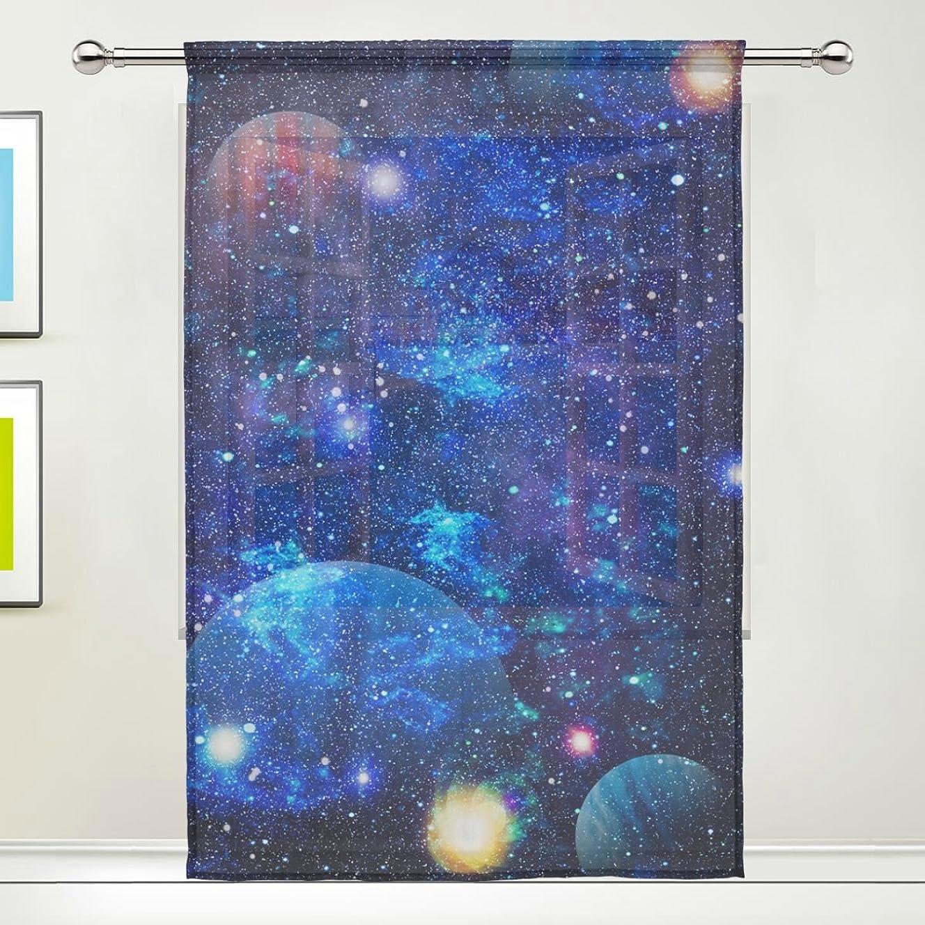 実際にちなみにメイドマキク(MAKIKU) シェードカーテン オーダー 遮光 レースカーテン おしゃれ ミラーレースカーテン 小窓 UVカット 洗える 目隠し 幅140cm×丈200cm 1枚 宇宙柄 星柄 銀河