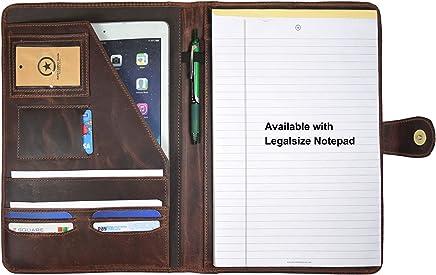 Leather Travel Portfolio   Professional Organizer Men & Women   Tablet Holder Leather Padfolio with Sleeves