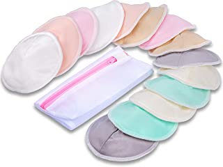 Nursing Pads, McoMce 4.9 inch Washable Breast Pads (14 Pack), Breastfeeding Supplies, Multicolored & Contoured Nipple Pads...