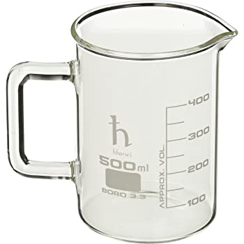 EISCO Premium Hand Crafted Beaker Mug, Thick Borosilicate Glass, Large Size, Pint Glass or Coffee Mug Sized, 500 ml Capacity, 16.9 oz.