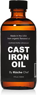 Organic Cast Iron Oil & Cast Iron Conditioner (4 oz) - Made from Flaxseed Oil grown and pressed in the USA ...