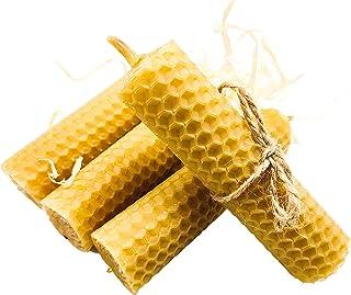 Bio Land Handgerollte Wabenkerzen aus reinem Bienenwachs, Box mit Stumpenkerzen aus natürlichem Bienenwachs, 105 mm Set 4 Stück