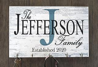 Broad Bay Family Name Sign Key Holder or Leash Hook Personalized Monogram Custom Wedding Gift Solid Wood Established Date ...
