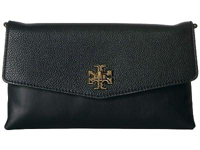 Tory Burch Kira Mixed-Materials Clutch (Black) Handbags