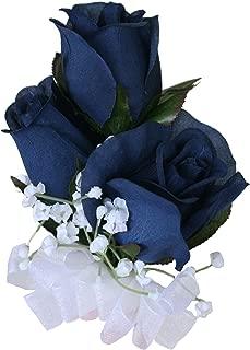 TheBridesBouquet.com Prom Corsage Wristlet | Wrist Corsage Wedding | Fake Flower (Navy Rose Wrist)