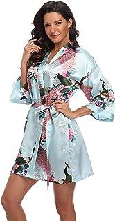 Women's Short Bridesmaids Robe Floral Satin Kimono Dressing Gown Loungewear