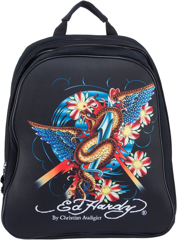 Ed Hardy Nina Snake Computer Case Notebook Backpack  Black