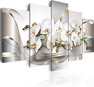 5 Panel Butterfly Orchid Flowers Canvas Print Wall Art Painting Decor for Home Decoration Picture for Bedroom Framed Ready to Hang White Floral Artwork (40