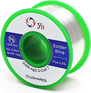 YOUSHARES Lead Free Solder Wire with Rosin Core (0.8mm, Sn99%-Ag0.3%-Cu0.7%, flux 2.0%), Net Weight 0.22lb for Most Electrical Repair Soldering Purpose