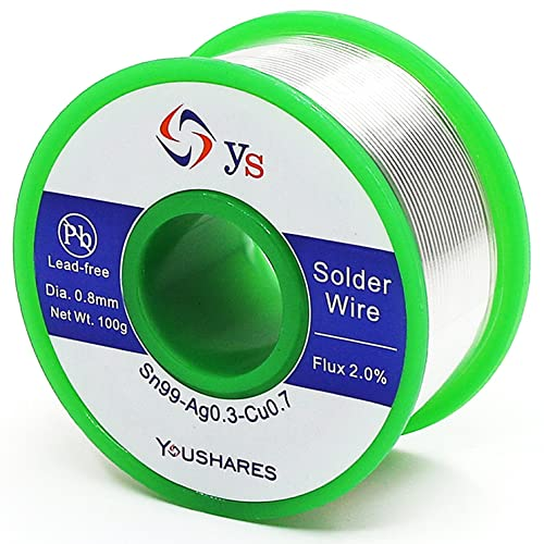 YOUSHARES Lead Free Solder Wire with Rosin Core (0.8mm, Sn99%-Ag0