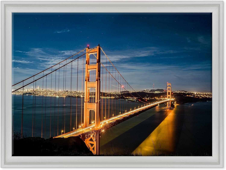 ConKrea QUADRO golden Gate Bridge  Ponte Baia di San Francisco  USA America  California MODERN ON CANVAS Size  50 x 70 cm C  color Bianco Contemporaneo