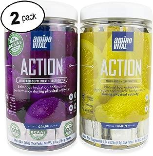 Amino VITAL Action Bundle | Fermented Vegan BCAAs Amino Acid Powder + Electrolytes | Single Serve Packets | Keto Friendly | Lemon + Grape Flavor | 2 Canisters