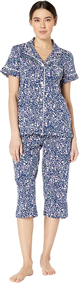 Petite Short Sleeve Notch Collar Capris Pajama Set