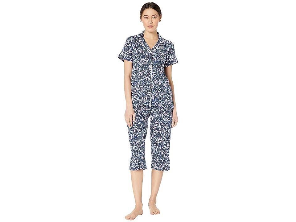 LAUREN Ralph Lauren Petite Short Sleeve Notch Collar Capris Pajama Set (Navy Floral Print) Women