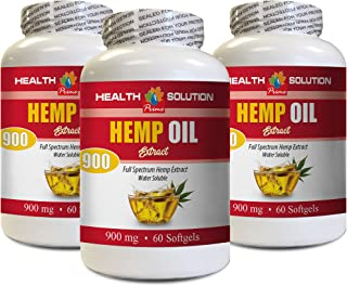 Pain Relief Formula - Hemp Oil Extract 900 mg - Hemp Seed Oil for Hair Growth - 3 Bottles 180 Softgels