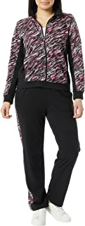 AmeriMark Women's Activewear Sweat Suit Set – Sweatpants and Zip Jacket Outfit Black/Fuchsia Large