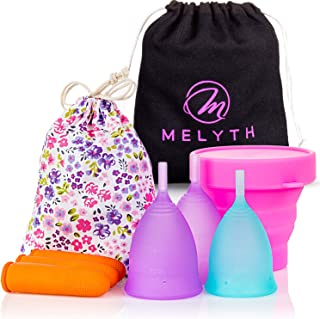 Melyth Reusable Menstrual Cups 3X - (2X Large & 1x Small) - with Latex Finger Protection Sleeves, Sterilizing Cup and Carr...