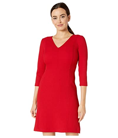 LAUREN Ralph Lauren Petite Fit-and-Flare Dress (Parlor Red) Women