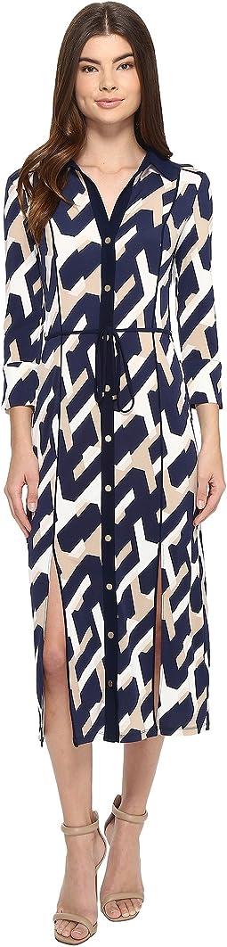Long Printed Shirtdress w/ Slits