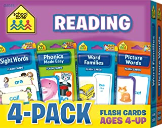 School Zone - Reading Flash Card 4-Pack - Ages 4 and Up, Short