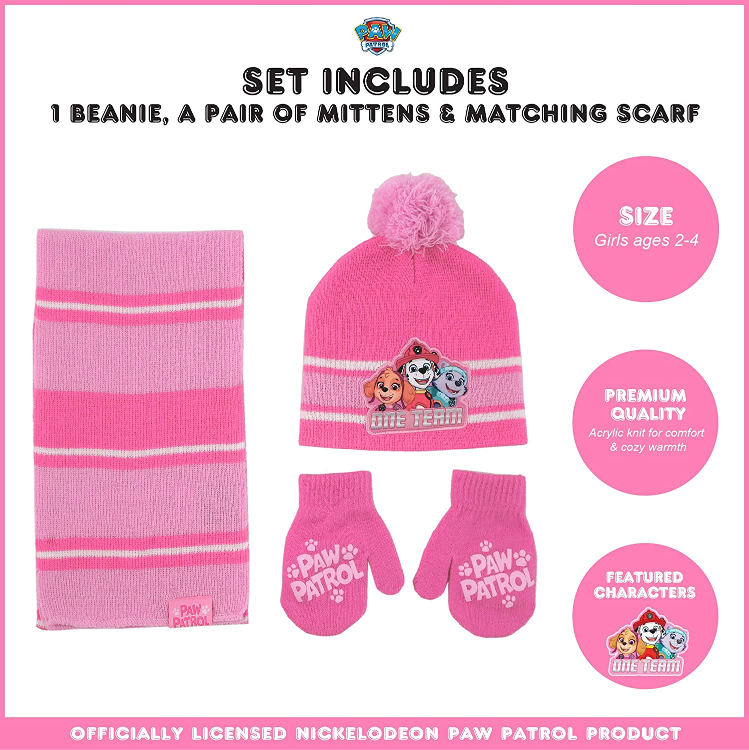 Scarf and Gloves Or Mittens Cold Weather Set Winter Accessory Set Nickelodeon girls Paw Patrol Hat