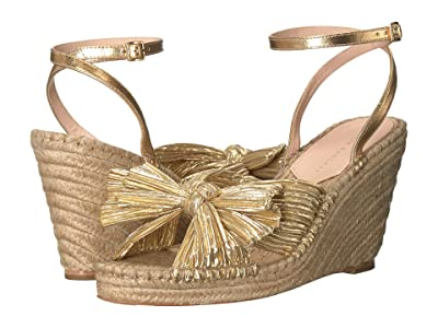 Loeffler Randall Charley Pleated Knot Espadrille Wedge (Gold Pleated Lame) Women