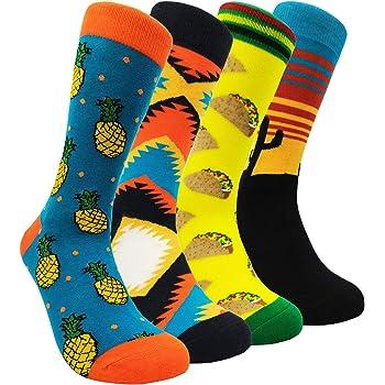 Chanwazibibiliu Fried Eggs Mens Colorful Dress Socks Funky Men Multicolored Pattern Fashionable Fun Crew Cotton Socks