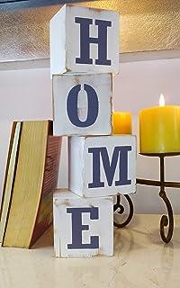 Juego de Cubos decorativos de madera en color blanco con letras, con la palabra HOME