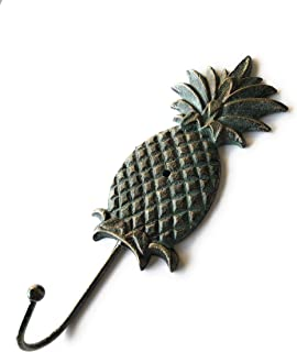 Tropical Pineapple Decorative Cast Iron Wall Hook – Modern Patina Finish – Storage Organizer for Keys, Coats, Towels