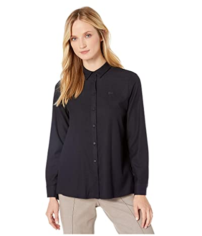 Lacoste Loose Fit Pleated Back Flannel Shirt (Navy Blue) Women
