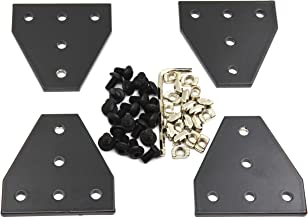 Befenybay 4PCS/Set Corner Bracket Plate with 20PCS M5x8mm Screws and 20PCS M5 T Nuts, 5-Hole Tee Outside Joining Plate for 2020 Series Aluminum Profile 3D Printer Frame (Black T)