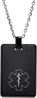 Dolceoro Customized Medical Alert ID Necklace, Personalized Laser Engraving - Stainless Steel