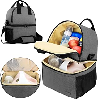 Teamoy Breast Pump Bag Tote with Cooler Compartment for Breast Pump, Cooler Bag, Breast Milk Bottles and More, Double Layer Pumping Bag for Working Moms, Gray(Bag Only)