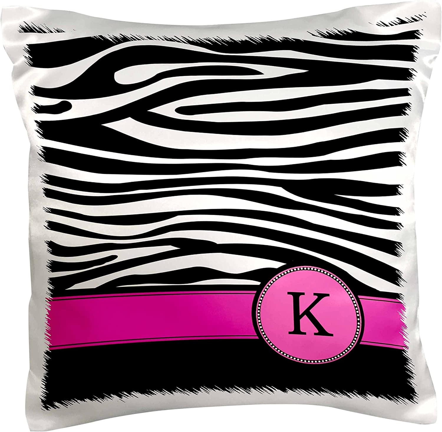 Amazon Com 3drose Pc 154282 1 Letter K Monogrammed Black And White Zebra Stripes Animal Print With Hot Pink Personalized Initial Pillow Case 16 X 16 Arts Crafts Sewing