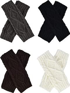 4 Pairs Women's Crochet Fingerless Gloves Knit Arm Warmers Sleeves Rhombus Gloves Thumb Hole Mittens