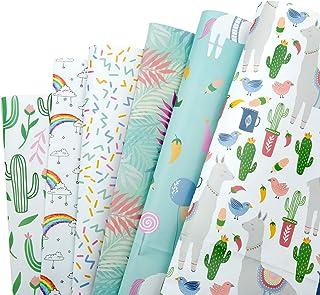 MOOKLIN ROAM Papier Cadeau, Lot de 6 papier d'emballage Motif en Cactus et Licornes pour Anniversaire, Vacances, Mariage, ...