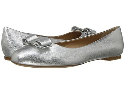 Salvatore Ferragamo Varina Bow Ballet Flat (Argento Flair Silk) Women