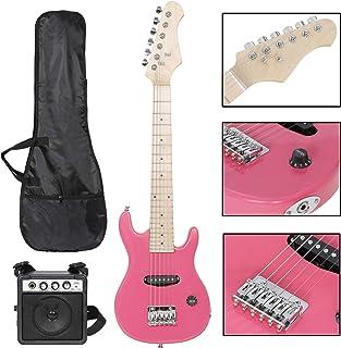 Smartxchoices گیتار برقی بچه گانه 30 اینچی با کابل 5 آمپر کابل بند بند شانه خیلی لوازم جانبی دسته کوچک موسیقی جاز گیتار برای مبتدی مبتدی (صورتی)